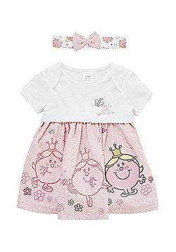 Little Miss Princess Bodysuit Dress and Headband Set - White & Pink