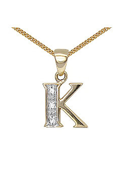 Jewelco London 9 Carat Yellow Gold Elegant Diamond-Set Pendant on an 18 inch Pendant Chain Necklace - Inital K