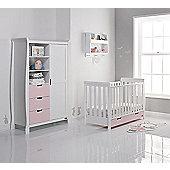 Obaby Stamford Mini Cot Bed/Wardrobe 2 Piece Nursery Room Set - White with Eton Mess (Pink)