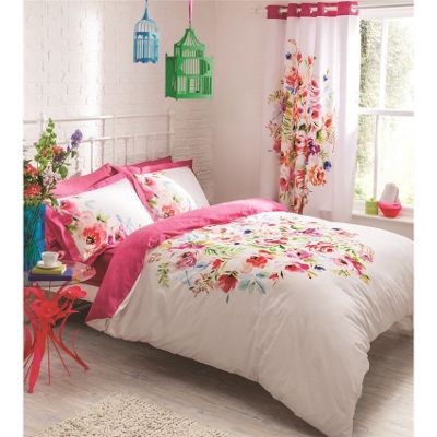 Catherine Lansfield Bright Floral Duvet Cover Set - Double