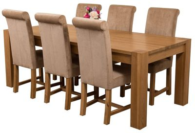 Kuba Chunky 220cm Kitchen Solid Oak Dining Set Table & 6 Beige Fabric Chairs