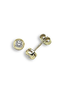 Jewelco London 9 Carat Yellow Gold 30pts Rubover Earrings
