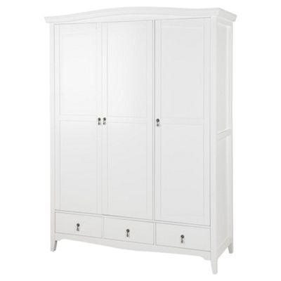 Louis Triple Wardrobe with 3 Drawers, White