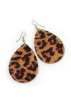 Large Resin 'Animal Print' Teardrop Earrings In Silver Plating - 7cm Length