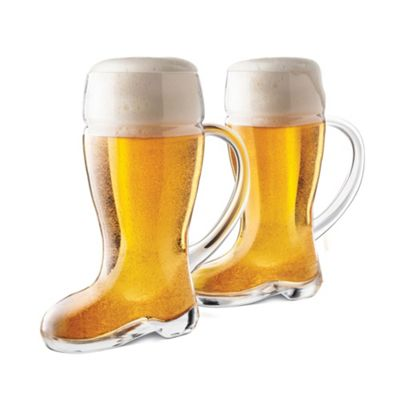 Fianl Touch Pack of 2 Das Beer Boot Beer Glasses with a Handle 700ml