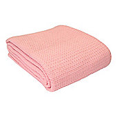 Homescapes Organic Cotton Waffle Blanket/ Throw Pink, 228 x 228 cm