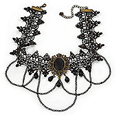 Chic Victorian/ Gothic/ Burlesque Black Bead Lace Chain Choker Necklace In Bronze Tone - 36cm L/ 6cm Ext