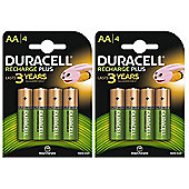 8 X Duracell 1300mAh AA Size Rechargeable Batteries