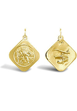 Solid 9ct Yellow Gold Double Sided Square St Christopher Medallion Pendant