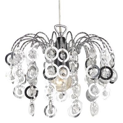 Contemporary Waterfall Pendant Shade with Clear Beads