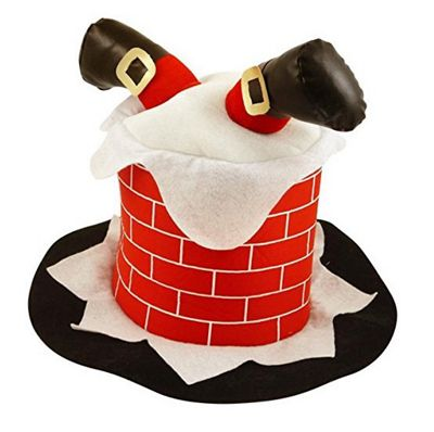 Novelty Christmas Chimney Hat With Santa Legs