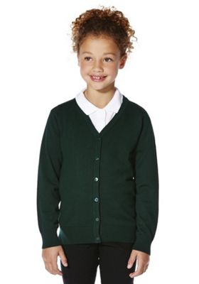 F&F School Girls Ribbed Cardigan with As New Technology 5-6 years Green
