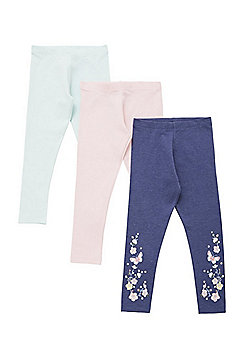 F&F 3 Pack of Plain and Floral Leggings with As New Technology - Multi
