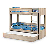 Happy Beds Ellie Wood Kids Bunk Bed and Underbed Trundle Guest Bed with 3 Open Coil Spring Mattresses - Oak - 3ft Single