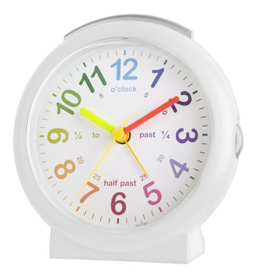 Acctim 15212 Lulu 2 Kids Time Teach Non-Ticking Alarm Clock in White