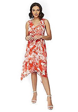 Wallis Petite Floral Print Handkerchief Hem Dress - Red
