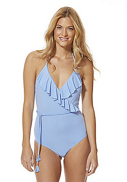 F&F Ruffle Trim Halterneck Swimsuit - Cornflower blue