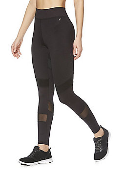 F&F Active Mesh Panel Ankle Grazer Leggings - Black