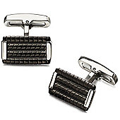 Fred Bennett Rectangle Polished Stainless Steel Cufflinks with Ridged Black Detail - V523