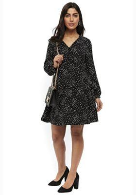Wallis Petite Spotty Swing Dress Black 10