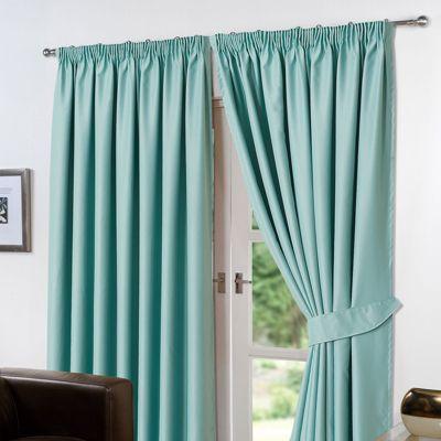 Dreamscene Pair Thermal Blackout Pencil Pleat Curtains, Aqua - 66