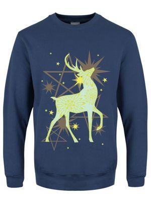Starlight Reindeer Boyfriend Fit Airforce Blue Women's Sweater