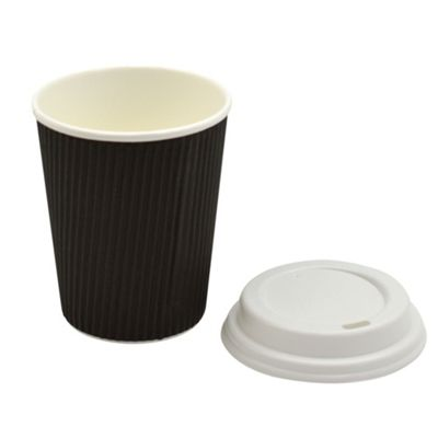 Disposable Coffee Tea Hot Drinks Ripple Black Cup & White Lid 8oz x200