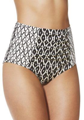F&F Shaping Swimwear Ikat Print High Waisted Bikini Briefs 22 Black & White