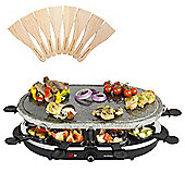 Andrew James Rustic Stone Raclette Grill Set with Individual Raclette Pans & Spatulas, Serves up to 8 People, 1200W Adjustable Temperature Control