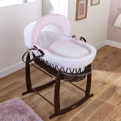 Clair de Lune Dark Wicker Moses Basket (Stars & Stripes Pink)