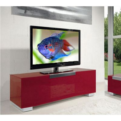 Triskom Stainless Steel / Glass TV Stand for LCD / Plasmas - Red Glass