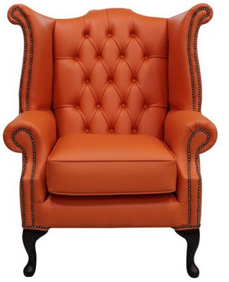 Chesterfield Queen Anne High Back Wing Chair Flamenco Orange Leather