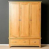 London Oak Triple Wardrobe - Light Oak