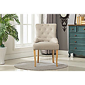 Fabric Accent Chair Dining Chair Scoop Back (Creme)