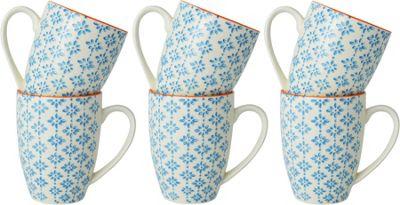 Nicola Spring Patterned Mugs - 360ml (12.7oz) - Blue / Orange Print Design - x6