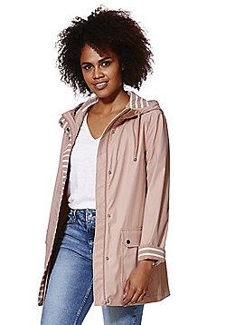 F&F Striped Trim Shower Resistant Hooded Mac - Blush pink