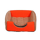 PawHut 2 in 1 Deluxe Cat Portable Pet Sofa Mat Bed Couch Cushion Kitten(Coffee/Orange)
