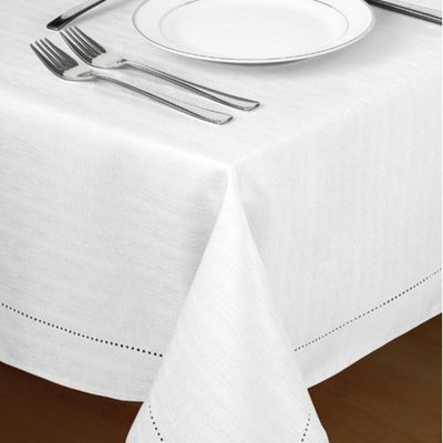 Country Club Hem Stitch Tablecloth in White