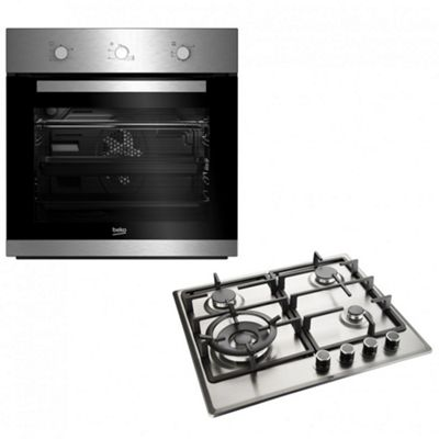 Beko Gas Oven & Hob Pack, Fan Assisted, 60cm, Built-in, Stainless Steel