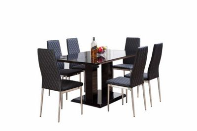 Black Imperia High Gloss Dining Table And 6 Black Milan Chairs