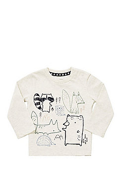 F&F Woodland Embroidered Long Sleeve T-Shirt - Cream