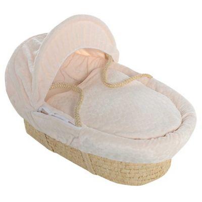 Cream Bubble Maize Moses Basket With Breathable Safety Foam Mattress