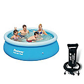 "Bestway 8ft Fast Set Paddling Pool With Bestway 12"" Air Hammer - Inflation Pump"