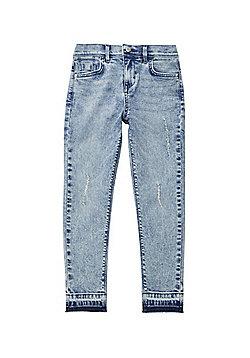 F&F Let-Down Hem Skinny Jeans - Acid wash