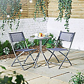 VonHaus Blue Textoline Bistro Set – 3 Piece Table and Chairs Set with hardwearing woven fabric