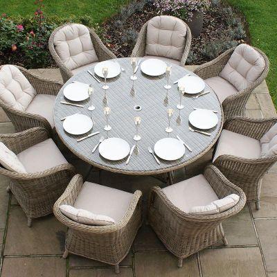 Maze Rattan - Winchester Round Armchair 8 Seat Set - 1.6m