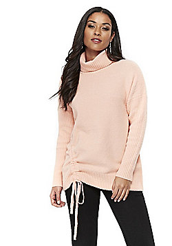Wallis Ruched Roll Neck Jumper - Apricot