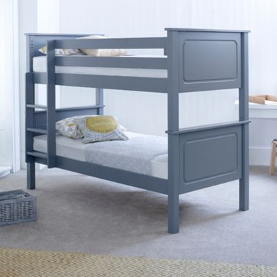 Happy Beds Vancouver Wood Kids Bunk Bed with 2 Memory Foam Mattresses - Grey - 3ft Single
