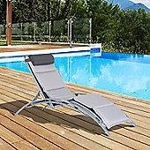 Outsunny Garden Patio Outdoor Pool Adjustable Sun Lounger Chair with Cushion - Dark Grey