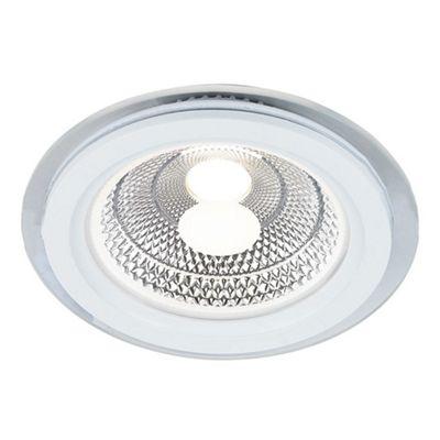 Modern Matt White Round 7 Watt Ceiling Downlighter with Inner Chrome Reflector